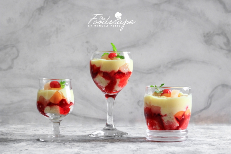 Fruit Trifle. Easy Layered Summer Dessert of Vanilla Cake, Cherry Jelly, Custard and Fruits. Not Rachel Green's Trifle. English Fruit Trifle Recipe. Food Photography