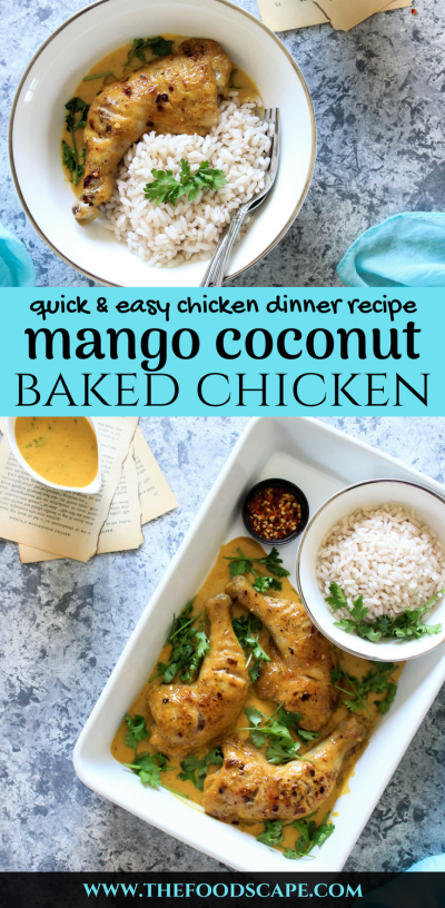 This easy Mango Coconut Baked Chicken is a welcome change from a basic chicken dinner. Sweet and spicy, with a creamy Mango Coconut Sauce, this recipe is ready to eat in just 40 minutes, is a tropical paradise holiday on the plate! Pure indulgence, with minimal effort. Chicken Dinner Recipes. Mango Recipes. Mango Chicken Recipe. Coconut Curry Recipe. Baked Chicken Recipe. Sheet Pan Recipes