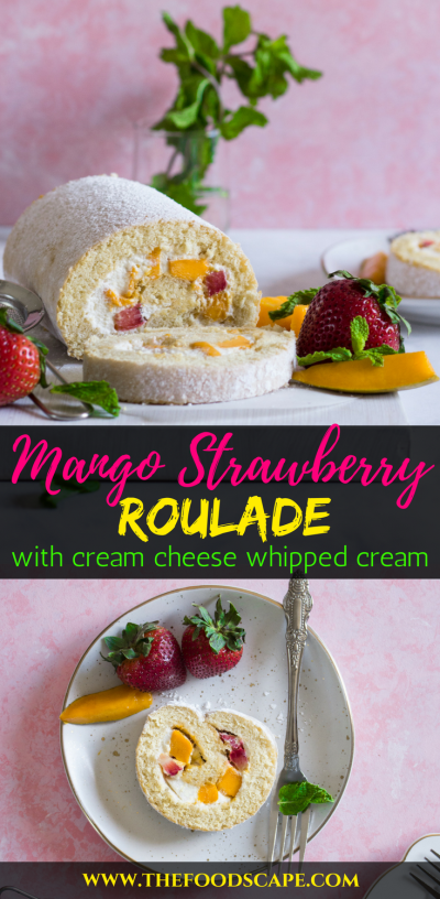 Mango Strawberry Roulade Recipe - Vanilla Sponge Cake filled with Cream Cheese Whipped Cream frosting and Mangoes and Strawberries! Swiss Roll Recipe. Swiss Roulade Recipe. Roulade Recipe. Jelly Rolls Recipe. The Ultimate Summer Dessert Recipe. Summer Cake Recipe
