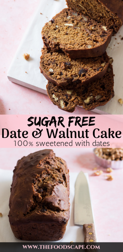 Sugar-free Date & Walnut Cake Recipe. Loaf Date Cake Recipe sweetened only with dates. Healthy Dessert Recipe. Healthy Cake Recipe. Diabetic Cake Recipe. Date & Walnut Cake Recipe. Refined Sugar Free Date & Walnut Cake. Food Photography. Loaf Cake Food Photography. #refinedsugarfree #sugarfree #cake #recipe #food #dessert #dessertrecipes #foodphotography
