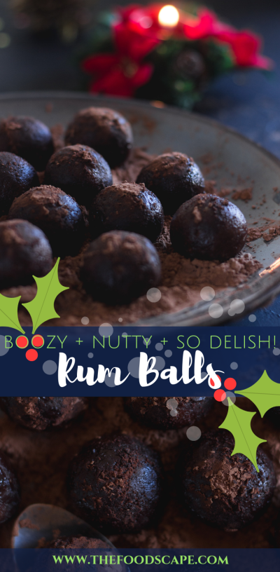 Rum Balls Recipe. Boozy Rum Balls Recipe. Rum Balls For Christmas Recipe. Holiday Rum Balls Recipe. Christmas Candy Recipe. Boozy Rum balls made with digestive biscuits, walnuts, pecans, cocoa and rum. Warm Christmas desserts recipe. Food Photography. Moody Food Photography. #food #recipe #christmascandy #rumballs #rum #holidays #christmas #foodphotography