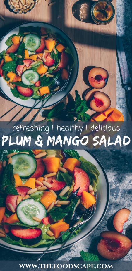 Plum & Mango Salad, Summer Salad, Salad Recipe, Mango Salad, Plum Salad, Stonefruit Salad, Dijon Mustard, Honey Salad Dressing, Summer Salad Recipe, GLuten Free, Vegan, Healthy Salad, Healthy Dinner Recipe, #food #vegan #glutenfree #healthyfood #healthydinner
